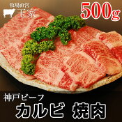 【神戸ビーフ ギフト】贈答 内祝い 御礼 肉 ギフト 肉 神戸牛 カルビ 焼肉 500g(冷蔵)国産 牛肉 肉 贈答 お返し