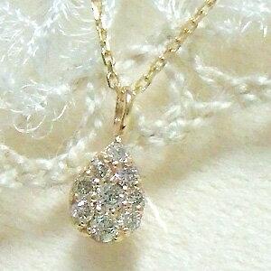 ☆Special Edition☆小さめトップがさりげない魅力★『ティアドロップ』モチーフに敷きつめたダイヤモンド★小ぶりだけど確かな輝き‥!イエローゴールドネックレス誕生日 プレゼント 10K 10金 YG ペンダント ダイアモンド 小さめトップがさりげなく着けられる!上質ダイヤモンドを敷き詰めた、輝きが違うネックレス。ティアドロップデザインも女性らしい☆