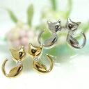 ショッピングダイヤモンド 【お得価格】ダイヤモンドの首輪でおすまし♪表情が可愛い、ネコ猫ねこピアスK14ゴールドネコポス シンプル 誕生日 プレゼント アニマルジュエリー WG YG