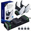 即納TiMOVO PS5コントローラー 充電スタンド PS5 / Switch Pro/Xbox One/X/S/Coreコントローラー対応 コントローラー充電器 USB給電式 急速充電 2台同時充電可能 置くだけで充電 充電LED指示ランプ付き ブ