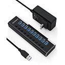 即納USB3.0ハブ 電源付き ROSONWAY 10ポート USBハブ アルミ製 5Gbps高速転送 セルフパワー USB拡張 独立スイッチ付 12V/3A ACアダプタ付き
