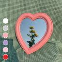 【全6色ハートミラー】 ハート形ミラー ハート鏡 鏡 かわいい 壁掛け 卓上ミラー アンティーク おしゃれ プレゼント お誕生日 インスタ映え 韓国 heart mirror IT20_001