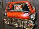 【最大60%OFFタイムセール開催中】アメリカン雑貨★アンティーク調 レトロ 壁掛け カーヘッドミラー RED 鏡-AK0078