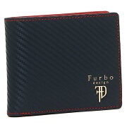 Furbo design 財布 フルボデザイン FRB113 GEAR CARBON ギアカーボン メンズ 二つ折り財布 NAVY/RED