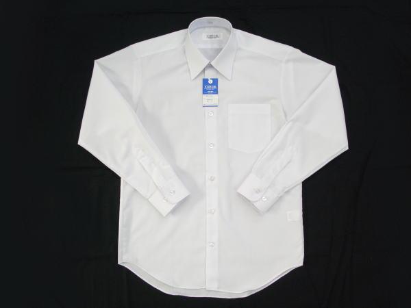 【中学生の定番】[青白ホワイト]男子スクールシャツ(丈80cm波型/形状安定) 長袖・半袖が選べます ◆ 店頭で最も売れてる標準シャツ ◆ 新入生に最適!