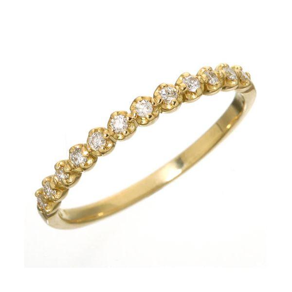 【ポイント最大35倍】K18 ダイヤハーフエタニティリング イエローゴールド 11号 指輪 ダイヤモンドハーフエタニティリング