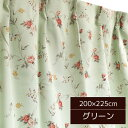 バラ柄 遮光カーテン / 1枚のみ 200×225cm グリーン / 洗える 形状記憶 薔薇柄 3級遮光 『ファンシー』 九装