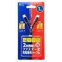 ミヨシ(MCO) ファスナー式充電専用ケーブル USB Type-C 2ポート 1m SFJ-CC10/BK