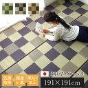 【クーポン配布中】純国産 い草ラグカーペット 『Fブロック2』 グレー 約191×191cm(裏:ウレタン)【グレー】 【代引不可】