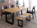天然木無垢材ヴィンテージデザインダイニング NELL ネル 6点セット(テーブル+チェア4脚+ベンチ1脚) ベンチ2P W180【代引不可】