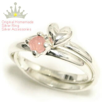 Heart & incarose 2-silver ring - Ruby marguerite-ring, ladies, birth stone, love luck up and natural stone and power stone-heart motif Pinky and small, extra large, size, order and Maid, cute, handmade 10P18Oct13fs3gm