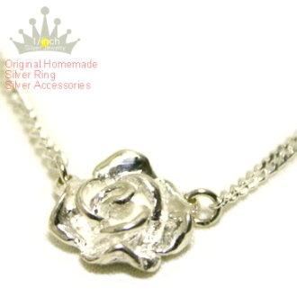 ローズシルバーネックレス - Rose silver necklace-Ruby marguerite sterling silver, size, custom-made, pendant, ladies, homemade, adult simple, chic, cute, lap, roses and flower motifs and antique-style 10P18Oct13fs3gm