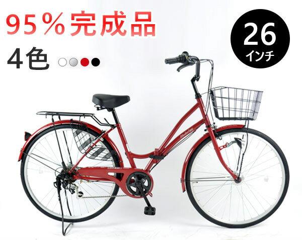 ママチャリ折りたたみ自転車26インチシティサイクルシマノ製6段ギア付本体LEDオートライトじてんしゃ