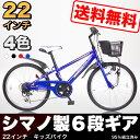 【kd22-6】送料無料 子供用自転車 本体 子供用マウンテンバイク 22インチ(シマノ製6段ギア付