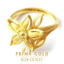 ショッピング女性 純金 24K 指輪 可憐 花 リング レディース 女性 イエローゴールド プレゼント 誕生日 贈物 24金 ジュエリー アクセサリー ブランド プリマゴールド PRIMAGOLD K24 送料無料