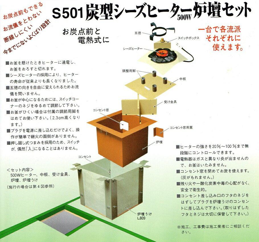 【茶道具 送料無料】S501炭型シーズヒーター炉壇セット500W野々田