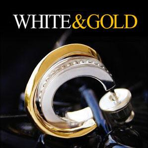 シルバー アクセサリー ホワイト ゴールド コントラスト