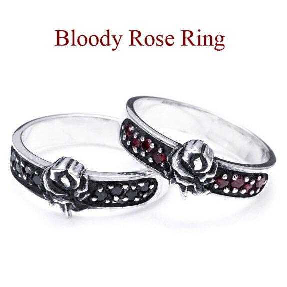 【送料無料】◆r0677■Bloody Rose Ring【シルバーアクセサリー|リング・指輪|バラ・薔薇|ブラック|レッド】