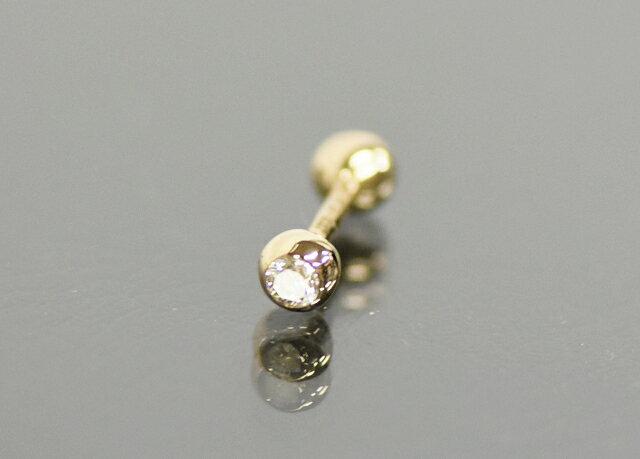 〇ダイヤモンド ストレートバーベル 16G 18金 K18 ボディピアス ローズゴールド ピンクゴールド