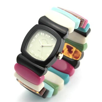 Time Will Tell タイムウィルテル ( タイムウイルテル ) watch Multi Colors black & Rainbow mixed color modern & vintage pop Bangle, breath and watch Multi-BLRA