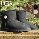 UGG ブーツ レディース MINI BAILEY BUTTON BLING 1003889 ムートンブーツ ミニ 秋冬 ムートン シープスキン ブラック/グレー/ 22cm-26..