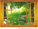 ウォールステッカー【窓/ベンチのある庭】インテリア・寝具・収納 インテリアファブリック(クッション・テーブルクロス・布装飾)