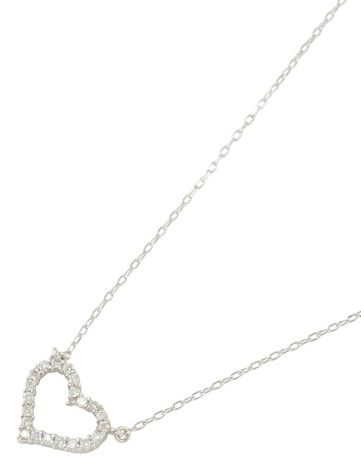 【本物保証】【】ABランク 貴金属 ダイヤモンド ハートデザイン ネックレス ホワイトゴールド K18WG 0.19ct レディース アクセサリー
