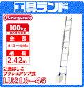 (代引不可 直送品) ハセガワ アルミ 脚部伸縮式2連はしご 手上げ式 LU2 1.0-45