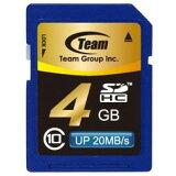 【着後レビューで】SDカード 4GB class10 メモリーカード SDHCカード 10年保証付 TEAM チーム Up to 20MB SDHC TG004G0SD28K メ20