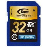 【着後レビューで】SDカード 32GB class10 メモリーカード SDHCカード 10年保証付 TEAM チーム 最大20MB/秒 SDHC TG032G0SD28K
