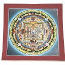 チベット密教 肉筆画 タンカ マンダラ 仏画カーラチャクラ 時輪曼荼羅 額付き【 ネパールの一級職人さん 精巧 精緻肉筆画 】