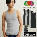 FRUIT OF THE LOOM フルーツオブザルーム メンズ タンクトップ 5枚セット ブラック グレー 下着 コットン Mens Black and Gray A-Shirts 5 Pack ジムウェア アンダーウェア