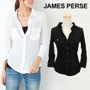 【クーポンで最大500円オフ】 JAMES PERSE ジェームスパース Contrast Panel shirt コントラスト パネル シャツ [ WUA3042 ] 【 SHEER SLUB SIDE PANEL SHIRT ジェームスパース レディース トップス 7分丈 シャツ