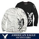 【ゆうパケット送料無料】American Eagle・アメリカンイーグルメンズ ロンT 長袖 ロングTシャツ(ae261)ホワイト・ブラック
