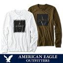 【ゆうパケット送料無料】American Eagle・アメリカンイーグルメンズ ロンT 長袖 ロングTシャツ(ae300)ホワイト・オリーブ