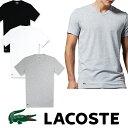 【LACOSTE】 ラコステ メンズ ワンポイント Vネック Tシャツ男性用 ホワイト グレー ブラック US正規希少性高い 高級スピマコットン100% la21