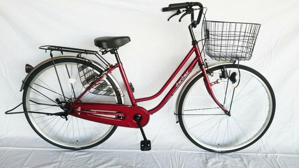 送料無料 自転車 パンクに強い ママチャリ】SUNTRUST(サントラスト) 軽快車(ワインレッド/赤)<通勤 通学 買い物に最適>【27インチ 自転車 ママチャリ】270耐パンク パンクしにくい 激安 格安 お手ごろ価格なママチャリ、気楽に街乗りができます。パンクに強いタイヤで手間いらず。 パンクしにくいタイヤ 自転車 27インチのシティサイクル ママチャリ 激安 格安