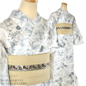 Washable summer kimono, Leno floral L tailored up product : 1 yen or more. fs04gm