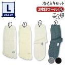 【冷えとり靴下 4足セット】正活絹 2枚目ウール(L) メンズ 841【あす楽】
