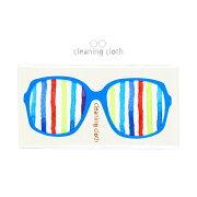 【ネコポス便対応可能商品】 眼鏡拭き(クリーニングクロス) ランダムストライプ ブルー シエル CC-015