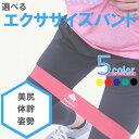 【セット割引実施中】エクササイズ バンド ゴム チューブ フィットネス トレーニング 体幹 ダイエット ヨガ 尻 強度別 5color 送料無料
