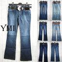 YMI ワイエムアイ レディース ベルト付き ブーツカットデニム バギー デニムパンツ ジーンズ BOOTCUT 全7デザイン