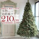 北欧 クリスマスツリー 210cm おしゃれ ヌードツリー もみの木 2019年 枝増量バージョン 松ぼっくり付き 2.1m 単品 【LED ライト オーナメント 飾り なし】