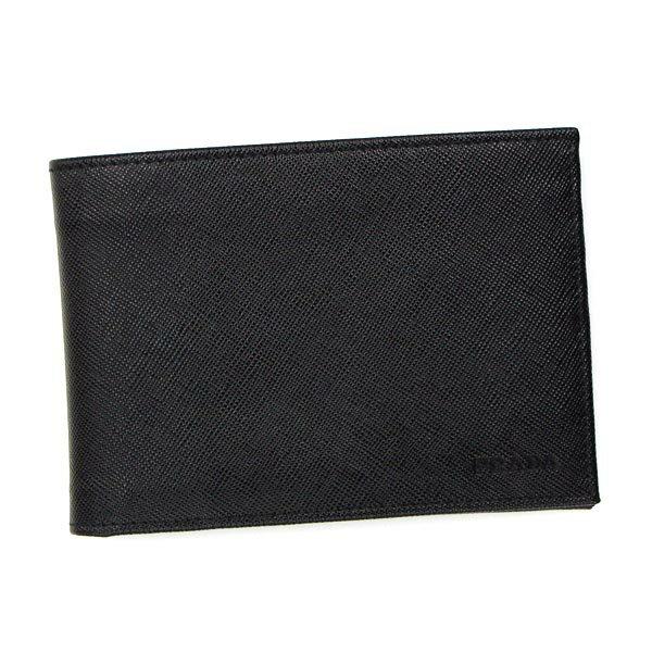 PRADA 2M0002 SAFFIANOプラダ 二折小銭財布レザーブラック ★☆正規品・新品・未使用・送料無料