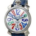 【世界限定500本】GAGA MILANO 5510.1 MANUALE 48MMガガミラノ マヌアーレ48スモールセコンド 手巻き 腕時計ステンレス×シルバーカーボンブルーレザーベルト スケルトンシルバー×マルチ