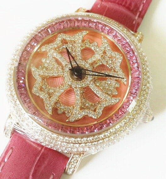Anne Coquine 1206-0505MINI CROSS GOLD SWAROVSKI WATCHPINK×PINK ぐるぐる時計アン コキーヌ ミニ クロスゴールドスワロフスキーウォッチピンク×ピンク