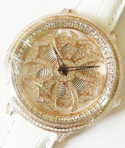 Anne Coquine 1206-0101MINI CROSS GOLD SWAROVSKI WATCHWHITE×WHITEぐるぐる時計 アン コキーヌ ミニ クロスゴールドスワロフスキーウォッチホワイト×ホワイト