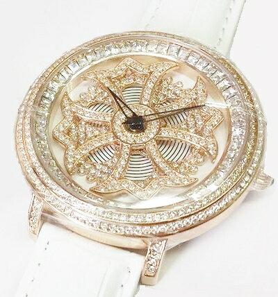 Anne Coquine 1201-0101CROSS GOLD SWAROVSKI WATCHWHITE×WHITE ぐるぐる時計アン コキーヌ クロスゴールドスワロフスキーウォッチホワイト×ホワイト