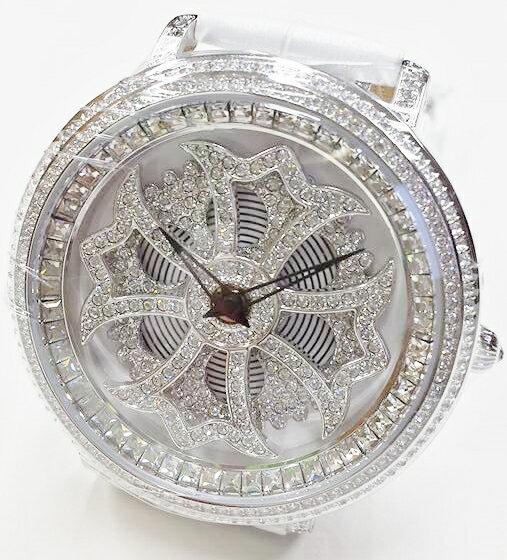 Anne Coquine 1101-0101CROSS SILVER SWAROVSKI WATCHWHITE×WHITE ぐるぐる時計アン コキーヌ クロスシルバースワロフスキーウォッチホワイト×ホワイト