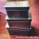 Numbering Zin Box M/ナンバリングジンボックスM【収納 ボックス ケース 蓋つき ブリキ ビンテージ アンティーク フレンチ 北欧 シャビー】の写真